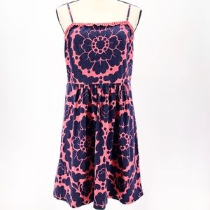 Boden Spaghetti Strap Summer Dress Blue Pink 8P